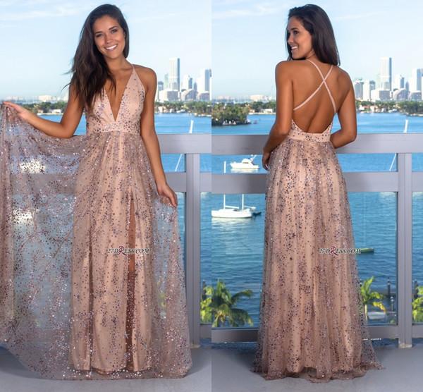 2019 Glamorous V-Neck Sleeveless Sequins Prom Dress Criss Cross Strings Bling Bling Crystals Beads Evening Gowns With Split Custom Made