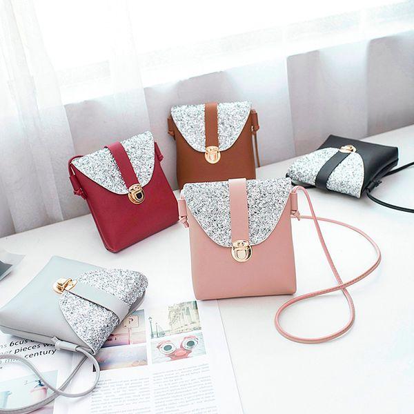 Cheap Fashionhandbag female bag leather handbags Women Fashion Solid Color Lock Sequins Crossbody Bag Shoulder Bag bolsos bandolera mujer