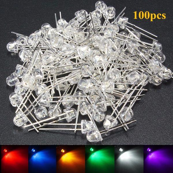 100 Pcs 5mm LED Diode DIY Kit Blanc Jaune Rouge Bleu Vert Violet Chapeau De Paille LED Grand Angle Diodes Électroluminescentes Eau Claire