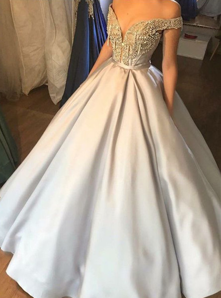 2019 Ball Gown Off-the-Shoulder Grey Prom Dresses Long Evening Dresses Crystals Formal Party Dress A-Line Bridesmaid Wear Party Gown QC1348