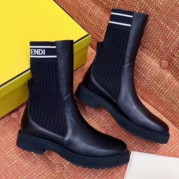 2020 autumn and winter new women's shoes letters lace-up leather martin boots stretch stitching mid boots boots black authentic shoes