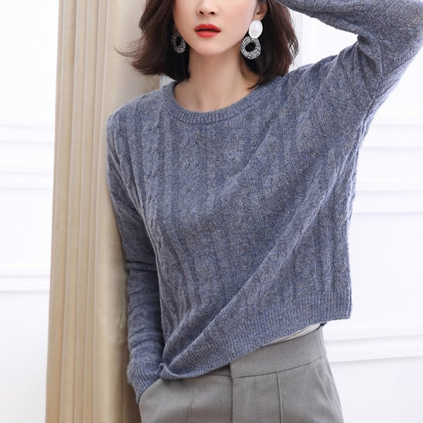 Women Solid O Neck Knitted Sweater 2019 Autumn Winter Fashion Female Pullover Sweaters Ladies Loose Knitwear Dropshipping 0801