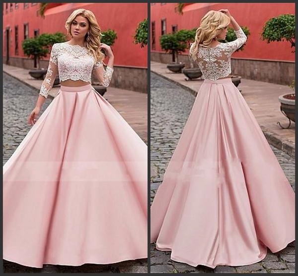 Vestidos de baile elegante de dos piezas de baile vestidos de moda tul satinado joya cuello una línea de vestido de noche largo Prom Vestidos por encargo 2 piec