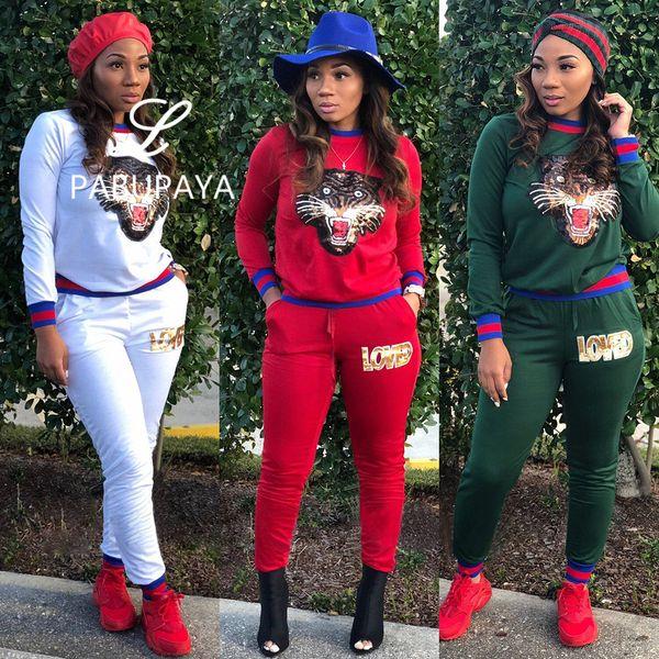 Hello528shop Fashion Tiger Head Sequin Rib Thicker Sweatshirt Joggings Casual Velour Tracksuit Sets for Women 2 Piece