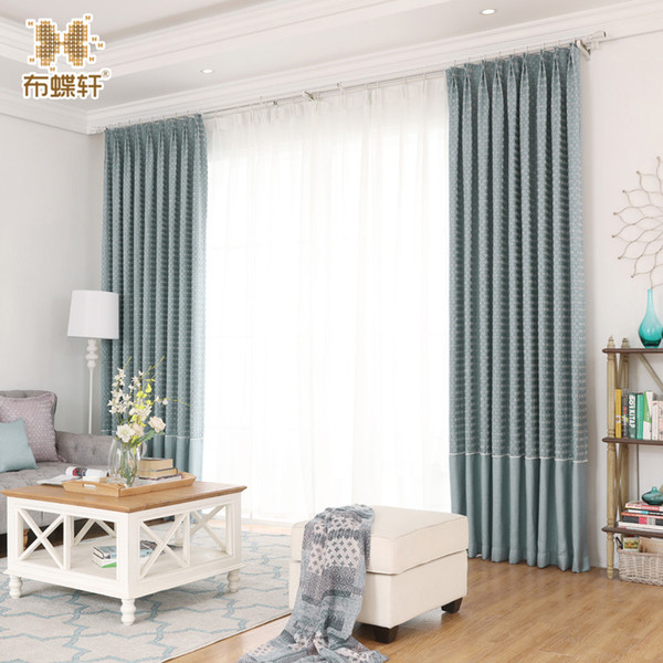 New Arrival Living Room Curtains Blue Blinds Jarquard Stitching Classic Grain Luxury Curtain for Bedroom Drapes Panels