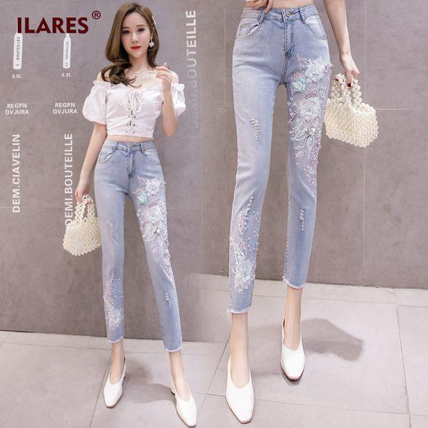 ILARES Jeans Femme Jeans Denim Mom Skinny Taille Plus fleur broderie perle crayon taille haute Pantalon Femmes Vêtements