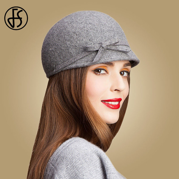 FS Vintage 100% Wool Fedora Floppy Bowknot Winter Felt Hats For Women Grey Black Navy Knight Top Caps Casual Chapeu Feminino D19011102
