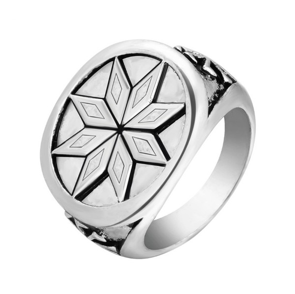 Vintage Silver Plated Alatir Star Signet Ring Viking Nordic Star Pagan Rocking Punk Jewelry For Men Wedding Bands For Men Oval Engagement Rings From