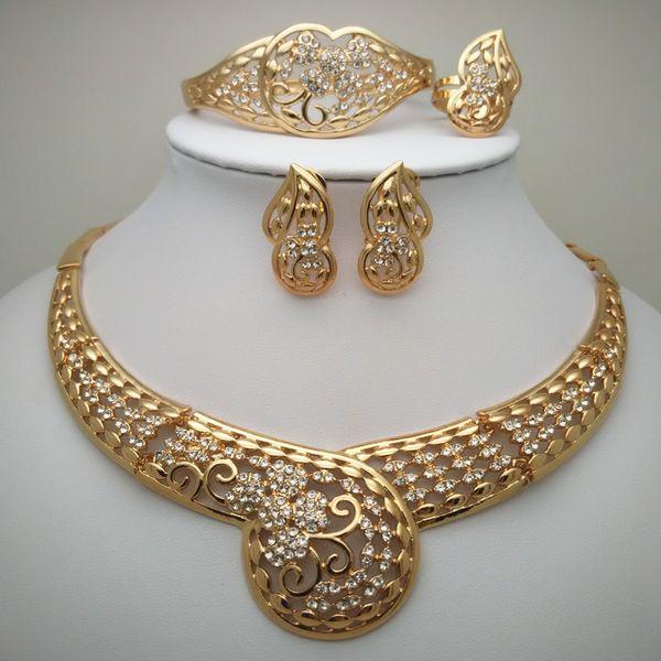 Cuentas de novia de la boda africana de Nigeria regalo de la joyería Conjunto de Nigeria boda Dubai Gold joyería fija Conjunto grande de África