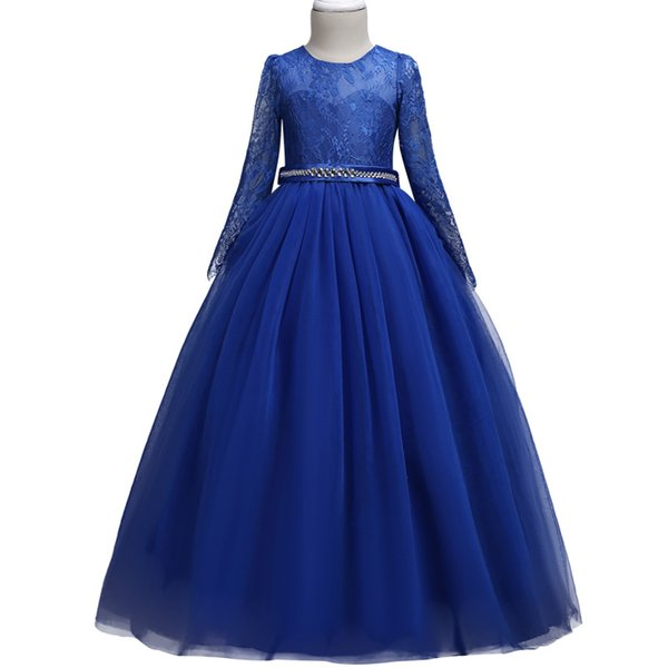 High-end Summer Tulle Lace Pageant Flower Girl Dresses For Girls Long Sleeve Lace Dress Zircon Elegant Piano Performance Princes Y19061801