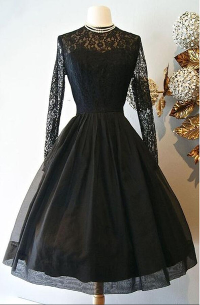2019 A-line Black Gothic Short Wedding Dresses With Long Sleeves Lace Vintage Tea Length Informal Reception Bridal Gown Non White