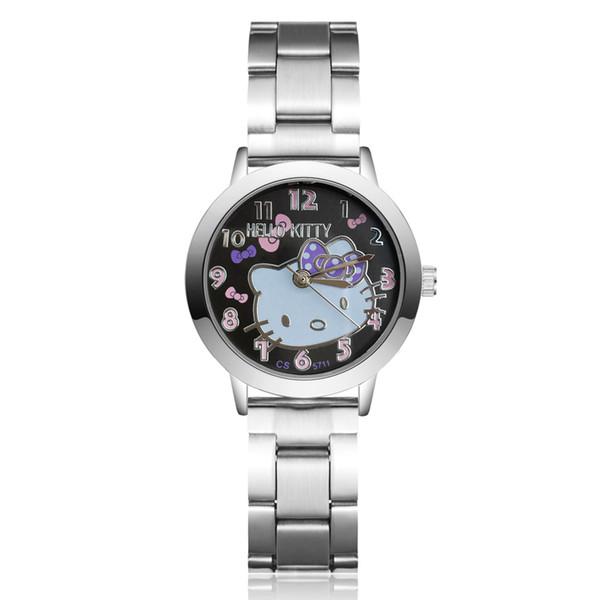 Art- und Weisefrauen-Mädchen hallo Miezekatze KT-Katzeart volles Stahlmetallband Armbanduhr