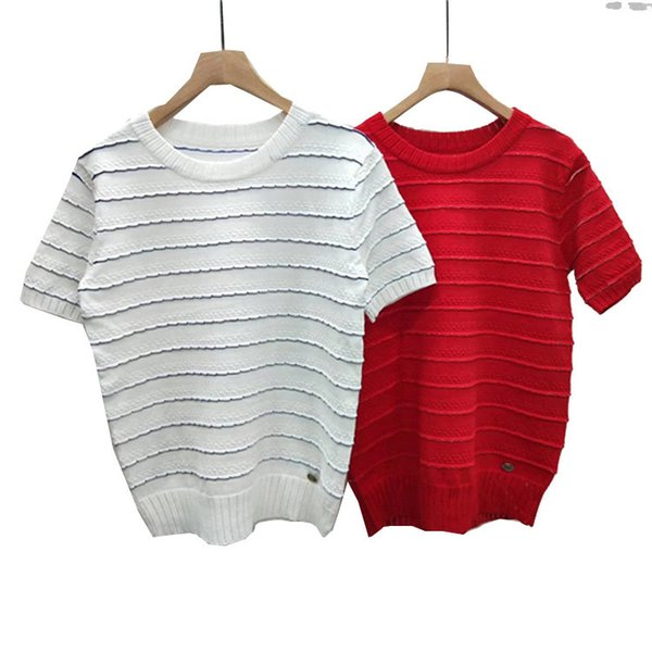 37 2019 Spring Brand Same Style Pullover Short Sleeve Luxury Fashion Womens Clothes Red White Crew Neck DL