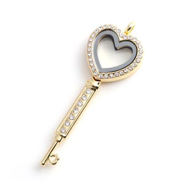 newest design silver heart key shape floating locket rhinestone magnetic floating locket pendant
