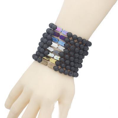 8 cores Natural Lava Pulseira Rocha Bangle Seta Volcanic Lava Pedra difusor de óleos essenciais Equilíbrio Yoga Beads pulseiras acessórios