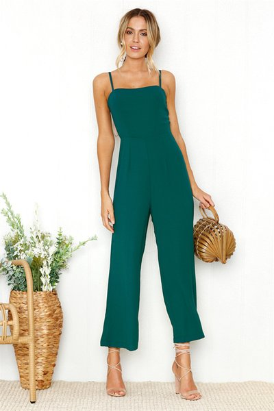 Womens Summer Solid Color Designer Jumpsuits Sexy Sling Wrapped Chest Zipper Female Clothing Fashion Casual Apparel