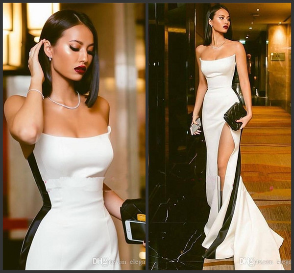 New Amazing Sexy Slim Evening Dresses Strapless White Satin Gown With Black Stripe High Slit Prom Party Gowns Custom Vestidos De Soiree