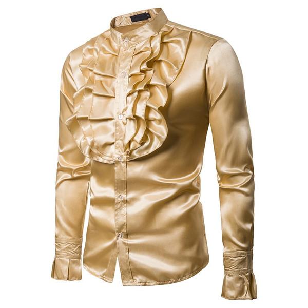 Hommes Chemises Automne Casual Chemises À Manches Longues Chemise Parity Tuxedo Stand Bouton Soirée Slim Fit Solid Blouse Chaude vente chaude c0501