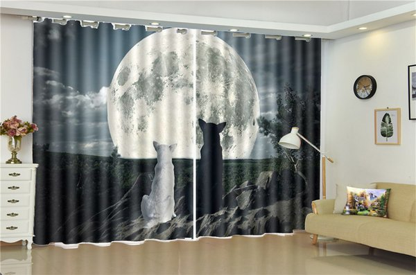 2019 Wholesale 3d Curtain Living Room Black And White Wolf Watching The  Moon Custom Living Room Bedroom Beautifully Decorated Curtains From  Yunlin189, ...