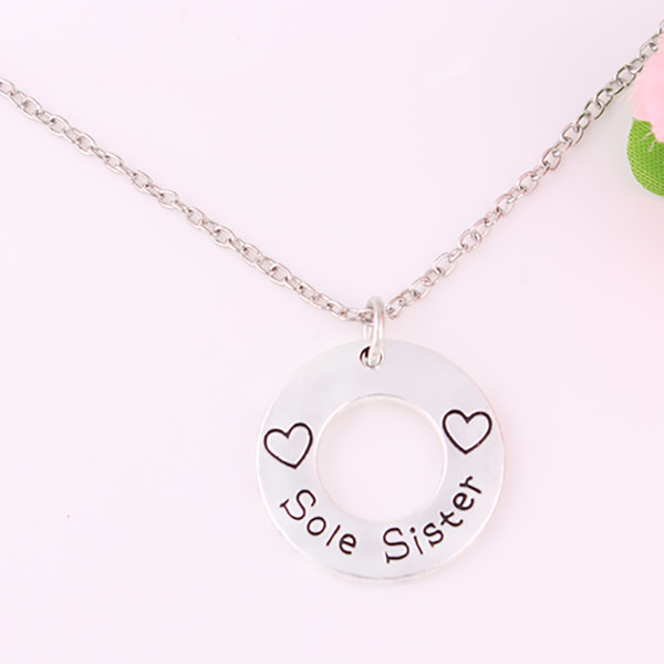 H26 New Arrival Lobster Claw Wheat Link/snake chain Necklace with heart Sole Sister chains necklace