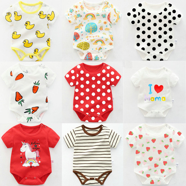 40 colors Cheap baby romper onesies newborn cartoon printed short sleeve summer cotton jumpsuits rompers triangle clothes toddler bodysuit