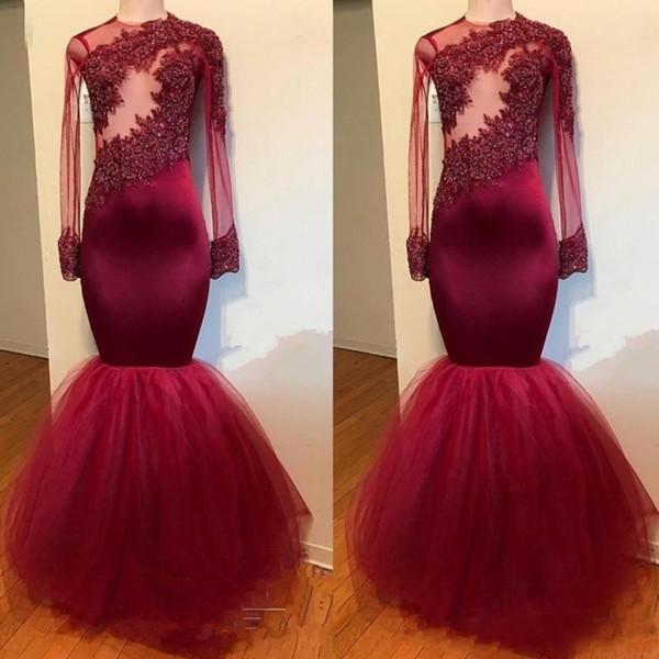 Burgundy Evening Dresses 2019 Modest Design Prom Dress Arabic Real Image See Through Princess Occasion Plus Size Vestido De Festa