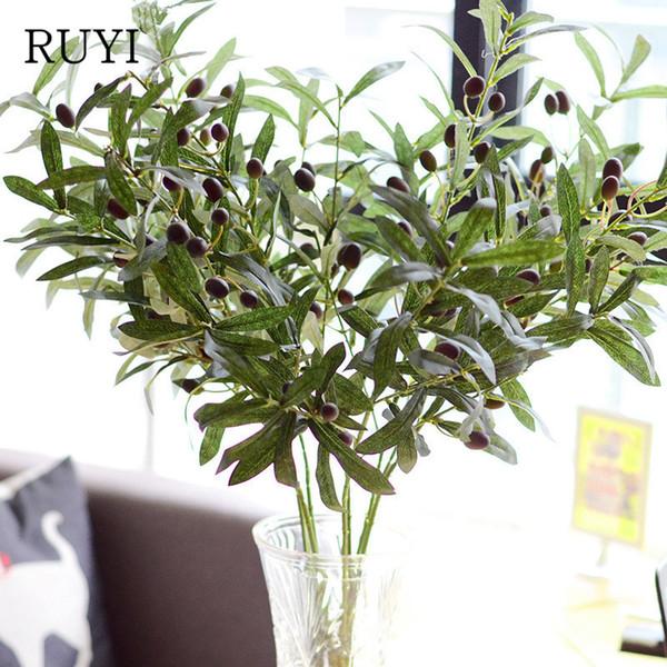 flores artificiales europeas artificiales al por mayor trompeta hojas de olivo decoración del hogar flores falsas accesorios de la planta de simulación de boda
