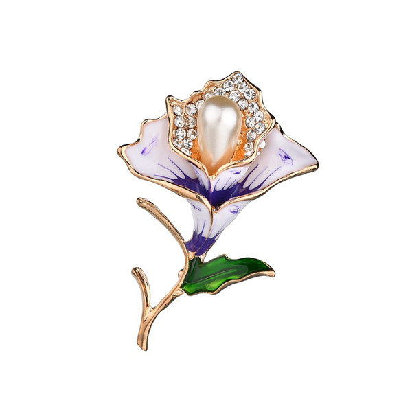Elegant Crystals Imitation Pearl Flower Brooch Cloth Coat Suit Shirt Art Pins Weddings Party Banquet Brooch