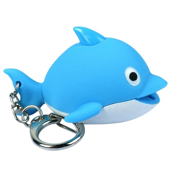 New Creative LED Sound Dolphin Pendant Key Chain Lovely Animals Keyrings For Car Key Holder Accessories