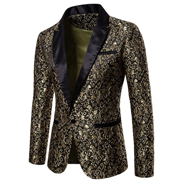 Men Elegant Gold Black Floral Single Button Blazer Slim Fit Stage Casual Wedding Party Club Wear Dress Coat Blaser Masculino #3
