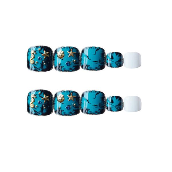 24pcs False toe nails with glue summer cute fake toe nails short toe nail tips for women girls