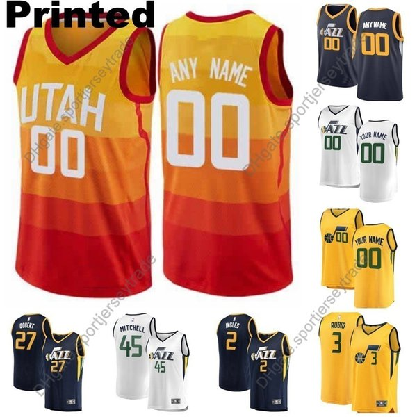 wholesale dealer cee00 e5ad0 2019 2019 Printed Mens Utah City Jazzs Donovan Mitchell Kyle Korver Ricky  Rubio Jae Crowder Rudy Gobert Dante Exum Ingles Cheap Basketball Jersey  From ...