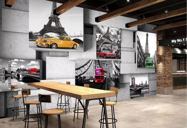 Старинные Европейские Башни Автомобиля Обои Mural Wall Art 3D Обои Рулоны Бумаги для Гостиной Ресторан Фрески Контактная Бумага Пользовательские