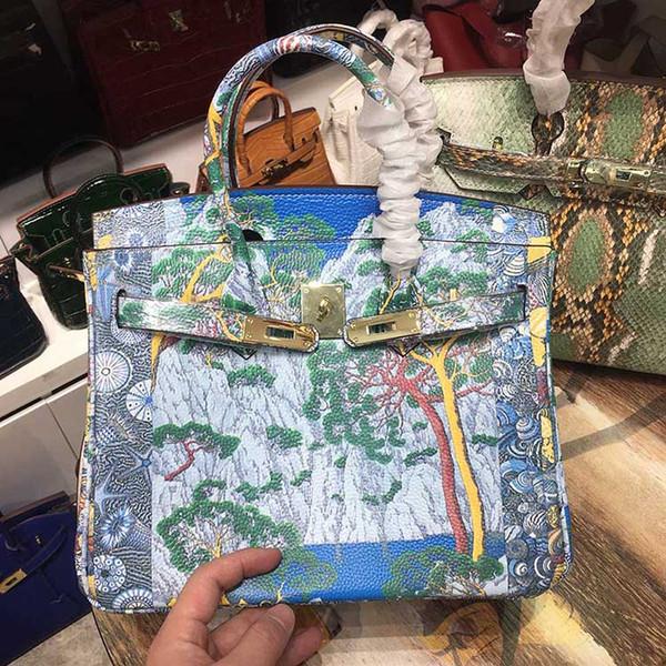 Artwork painted de igner tote bag 2020 fa hion luxury handbag pur e women houlder bag genuine cowhide leather elegant ladie hand bag