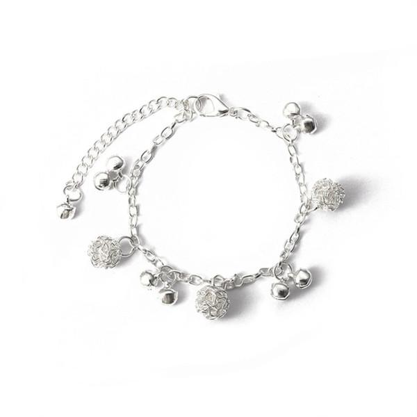 National chime alloy ball plating thick silver bracelet Bangle bracelet simple adjustable Bracelets for women jewelry Wrap