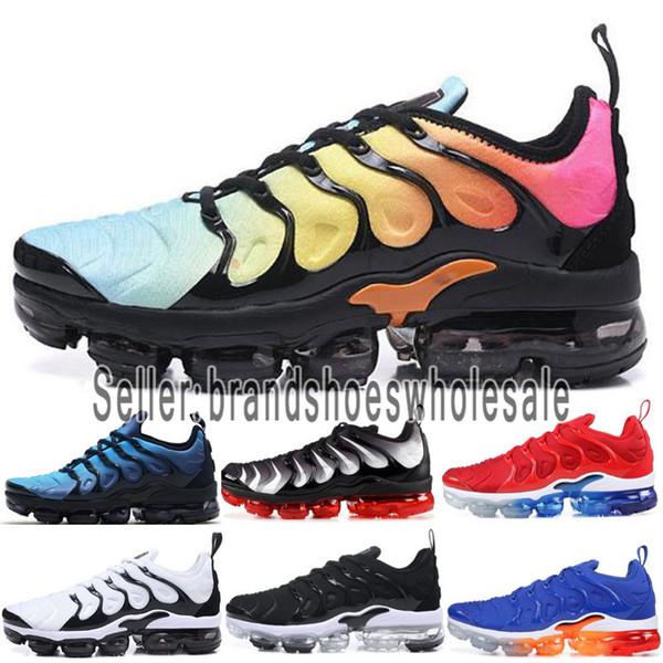 Designer men shoes Nike vapormax women 2019 2018 TN Plus Das Mulheres Dos Homens Sapatos De Grife de uva ar triplo preto branco do sol lobo cinza Azeitona Prata Metálica casual