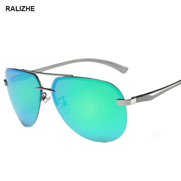 2019 Pilot Sunglasses For Men Women Metal Luxury Retro Sun Glasses Driving Fishing Flash Mirror Green UV400 Lens
