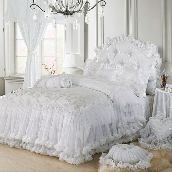 Free Shipping pink purple white red Korean wedding lace 4pcs bedskirt cotton bedding set without filler full/queen/king size