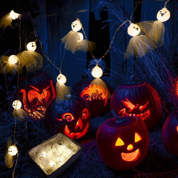 Halloween ensolarado crânio boneca fantasma fantasma sombrio partido quintal iluminação luzes da corda luzes LED