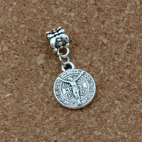 Saint Jesus Benedict Nursia Patron Medal Crucifix Cross Charm Pendants alloy Jewelry DIY 100Pcs/lot Antique silver 14x17mm A-414