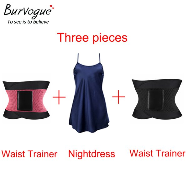 wholesale 3 in 1 / 3 pieces Women Waist Trainer Belt Corset for Weight Loss Slimming Body Shaper & Lace Night Gown Sleepwear