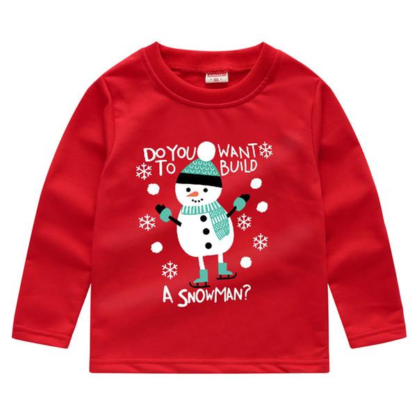 Bebek Bebek Boys Kız Noel Snowman yılbaşı sweatshirt Kazak tişört Kostüm Kıyafet Tops çocukları giysi