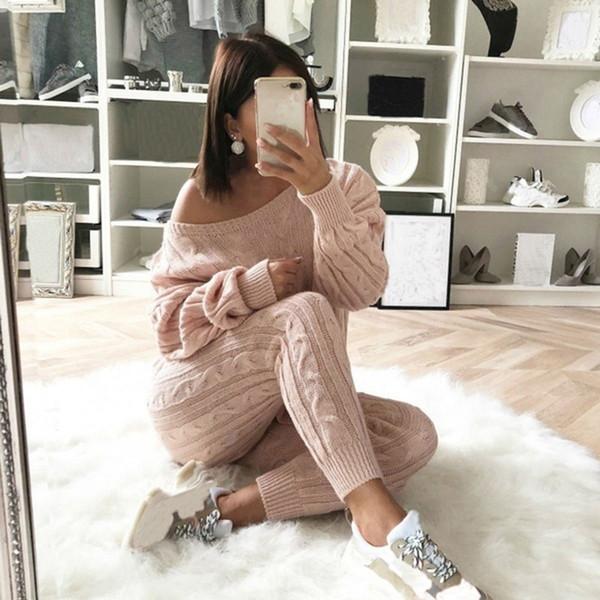 LITTHING 2019 Yeni Sonbahar Pamuk Eşofman Kadınlar 2 Adet Set Triko Üst + Pantolon Triko Suit O-Boyun Örme Bayan Dış Giyim 2 Adet Set