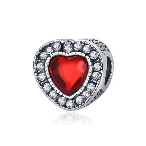 Forme de coeur Perles Cristal Doux Amour Rouge Coeur Perles Grand Trou Entretoise Perles Lâches Charmes pour DIY Faire Le Collier Bracelet