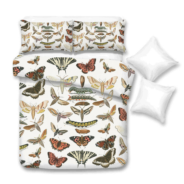 Butterflies Bedding Set Queen Size Creative High End Duvet Cover Larva King Twin Full Single Double Bed Cover with Pillowcase