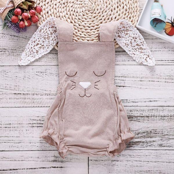 Baby Bodysuit Khaki Lovely Rabbit Ears Baby Girl Onesie Bodysuits New Born Baby Girl Newborn Clothes Funny Onesie Dropshipping Y19050602
