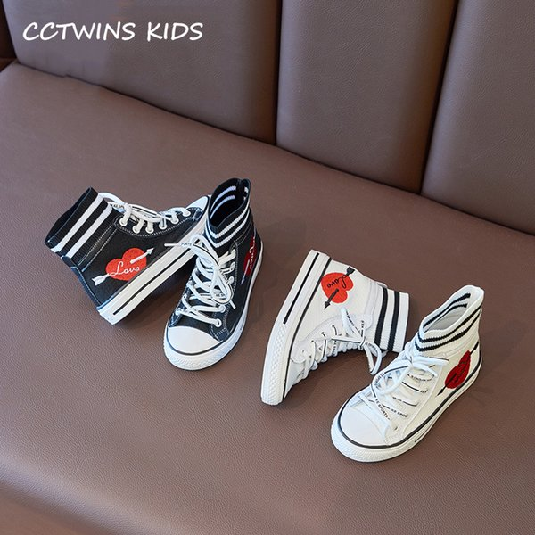 Scarpe per bambini 2019 Autunno Fashion Girls High Top Calzini Scarpe bambini Bianchi Sneakers sportive da corsa Toddler Black Trainers FH2440