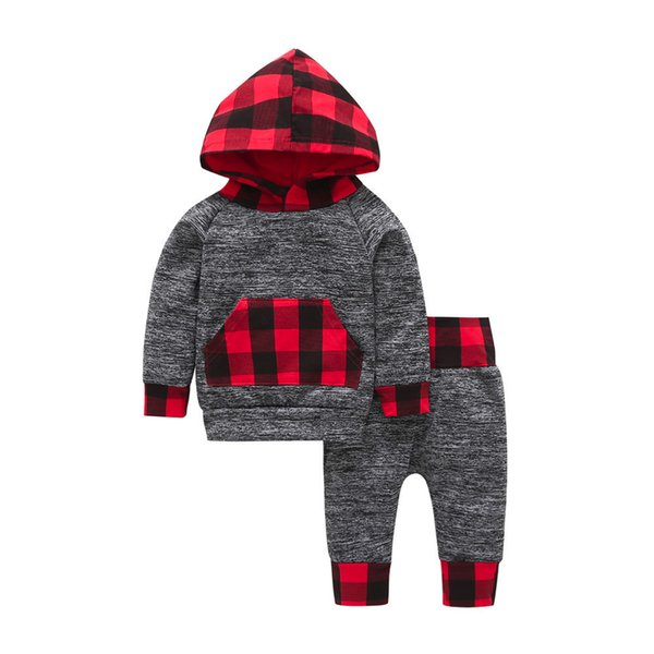 good quality Fashion Kids Winter Clothes Baby Boy Clothing Set 2PCs Plaid Hoodie Pocket Sweatshirt Pullover Tops Pants Clothes Sets