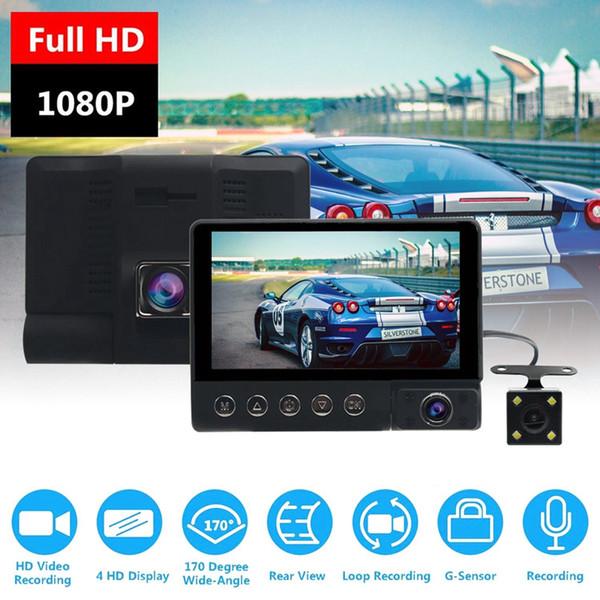 Car DVR Camera 3 Lens 4.0 Inch Full HD 1080P LCD Screen 170 Degree Rear view G-sensor Auto Dash Cam Infrared Night Vision Car Ca
