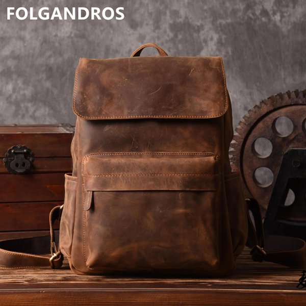 Brand Designer Men Genuine Leather Backpack Crazy Horse Vintage Daypack Multi Pocket Casual Rucksack Vintage Handmade Tote BolsaMX190903